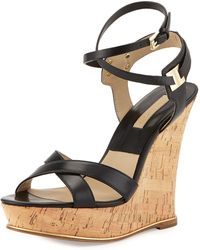Michael Kors Shana Leather Wedge Sandal - Lyst
