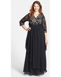Eliza J Lace and Layered Chiffon Gown - Lyst