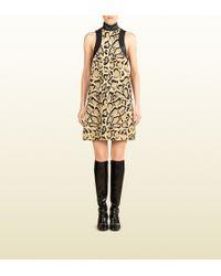 Gucci Leopard Print Silk Sleeveless Dress - Lyst