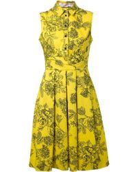 Lela Rose Pleated Shirt Dress - Lyst