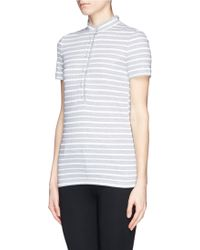 Tory Burch 'Lidia' Braided Stripe Polo T-Shirt - Lyst