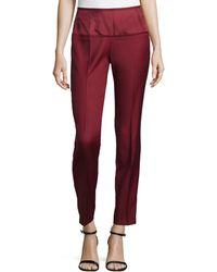 Stella McCartney Wool Sateen Ankle Trousers red - Lyst