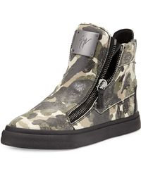 Giuseppe Zanotti Double-zip Camo Leather Sneaker - Lyst