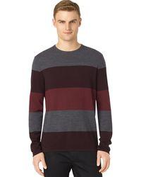 Calvin Klein Merino Stripe Colorblock Crewneck - Lyst
