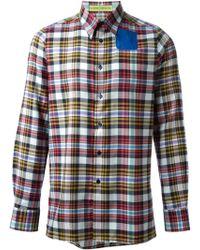 Raf Simons Plaid Blue Single Pocket Shirt - Lyst