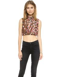 RED Valentino Pop Leopard Print Crop Top Cocoa - Lyst