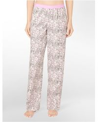 Calvin Klein Printed Roll-up Pajama Pants - Lyst