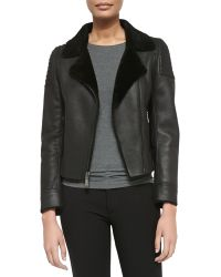 Elie Tahari Mae Leather Zip Jacket W Shearling Fur Lapels - Lyst