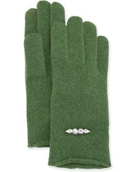 Portolano Cashmere-Blend Crystal Bead Tech Knit Gloves - Lyst