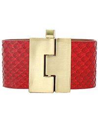 Leighelena - Wide Red Python Bracelet - Lyst