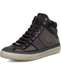 Jimmy Choo Belgravia Mini-studded High-top Sneaker - Lyst