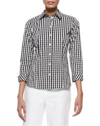 Lafayette 148 New York Janessa 3/4-Sleeve Gingham Blouse - Lyst