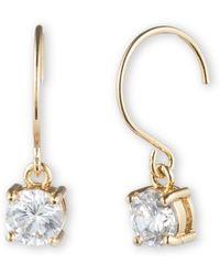 Anne Klein - Gold Tone Crystal Drop Earrings - Lyst