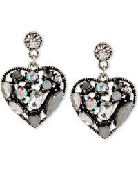 Betsey Johnson Hematitetone Crystal Gem Heart Drop Earrings - Lyst