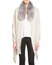 Badgley Mischka - Woven Stole With Faux Fur Trim - Lyst