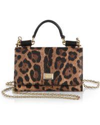 Dolce & Gabbana Leopard-Print Mini Chain Crossbody Bag - Lyst
