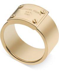 Michael Kors Gold-Tone Logo Plate Ring - Lyst