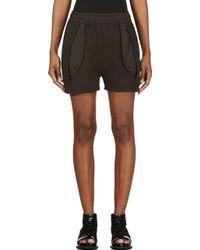 Silent - Damir Doma - Charcoal Grey Knit Pleated Plinci Shorts - Lyst