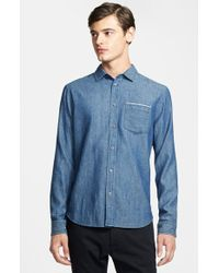 Marc By Marc Jacobs Trim Fit Selvedge Chambray Shirt - Lyst