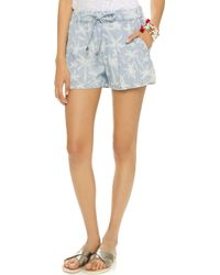 Splendid Pinstripe Palm Tree Shorts - Light Wash blue - Lyst