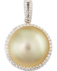 Eli Jewels - Golden South Sea Pearl And Diamond Halo Pendant - Lyst