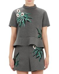 Marni Floral Sequined Peplum Top - Lyst