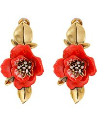Oscar de la Renta Painted Flower C Earrings - Lyst