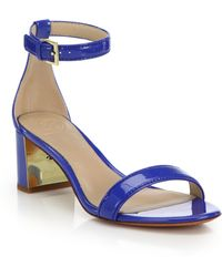 Tory Burch | Cecile Patent Leather Mid-heel Sandals | Lyst