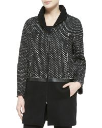 Elie Tahari Dalia Long Combo Zip-Front Coat - Lyst