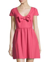RED Valentino Bow-Front Cap-Sleeve Dress - Lyst