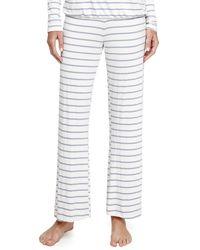 Eberjey Lounge Striped Wideleg Pants Blue Shadow Small - Lyst