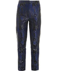 Christopher Kane Moiré Leather-Stripe Trousers - Lyst