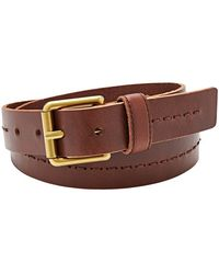 Fossil Square Buckle Stitched Leather Belt - Lyst