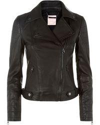 Ted Baker Black Biker Jacket - Lyst