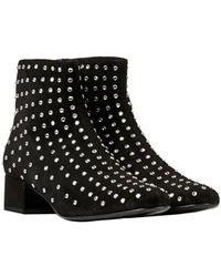 Saint Laurent Black Suede Ankle Boots - Lyst