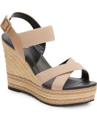 Charles By Charles David Thrice Faux Leather-Paneled Wedges - Lyst