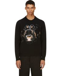 Givenchy Black Knit Rottweiler Sweater - Lyst