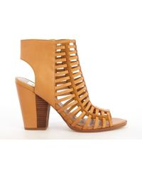 Dv By Dolce Vita Honey Brown Leather Pinko Strappy Cage Ankle Boots - Lyst