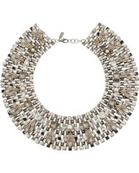 Vickisarge | Speakeasy Palladiumplated Swarovski Crystal and Faux Pearl Collar Necklace | Lyst