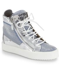 Giuseppe Zanotti Metallic-Paneled Studded High-Top Sneakers - Lyst