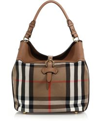 Burberry Sycamore Medium Cotton & Leather Hobo Bag - Lyst