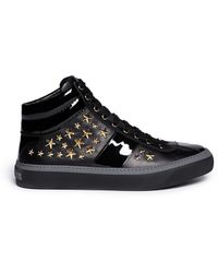 Jimmy Choo 'Belgravia' Star Stud Nappa Leather Sneakers - Lyst