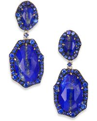 Phillips House Lenox Lapis, Sapphire & 14K Yellow Gold Medium Drop Earrings - Lyst