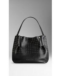 Burberry Medium Eyelet Detail Leather Tote Bag - Lyst