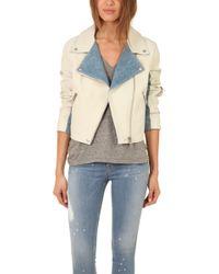 Acne Studios Rita Denim Leather Jacket - Lyst