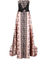 Carolina Herrera | Floral Jacquard Strapless Gown | Lyst