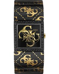 Guess Womens Gold-tone Logo Black Ion-plated Bangle Bracelet Watch 27mm - Lyst