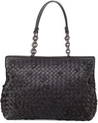 Bottega Veneta Woven Doublecompartment Shoulder Bag - Lyst
