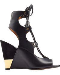 Chloé - Chloé Eliza Leather Wedge Sandals - Black - Lyst