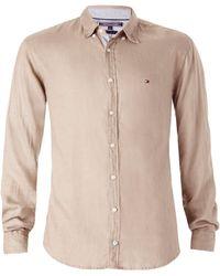 Tommy Hilfiger Solid Linen Shirt beige - Lyst
